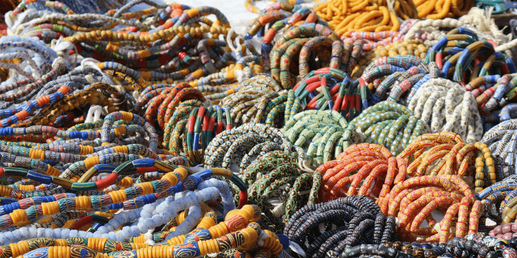 Handcrafted bead necklaces.