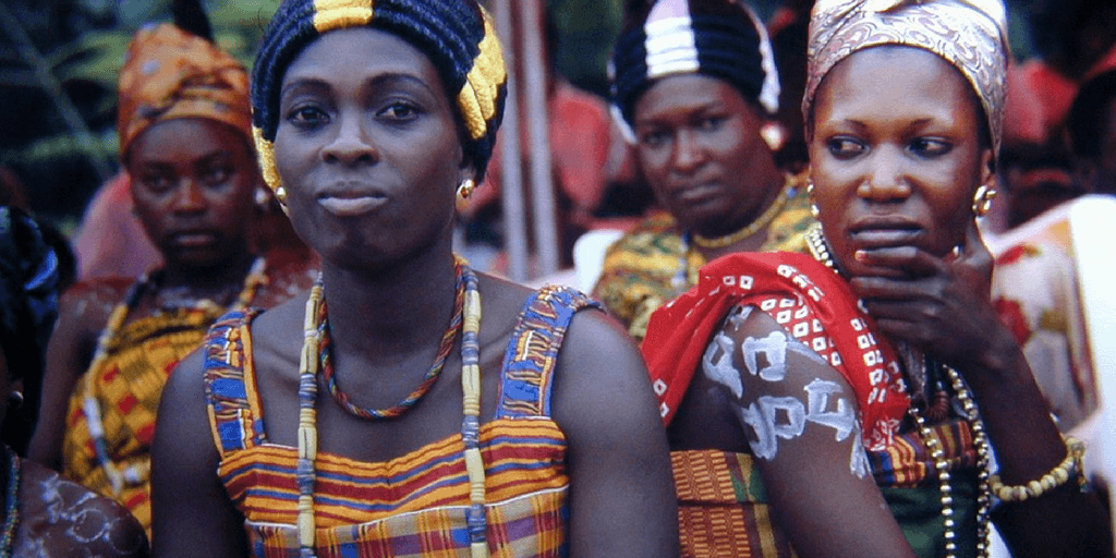 Ghanaian women dressed up in their traditional attire.