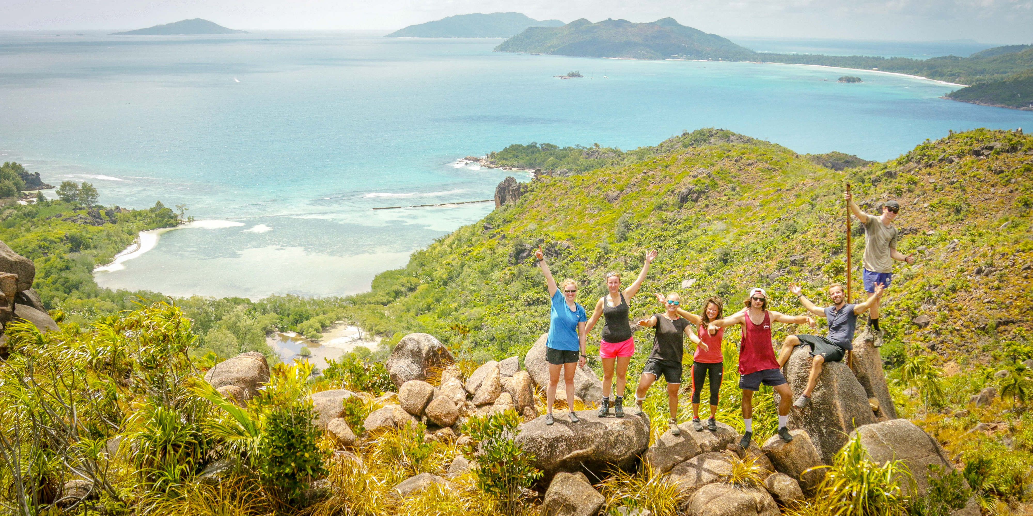 GVI participants enjoy the view from the summit of Curieuse Island while volunteering in Seychelles.