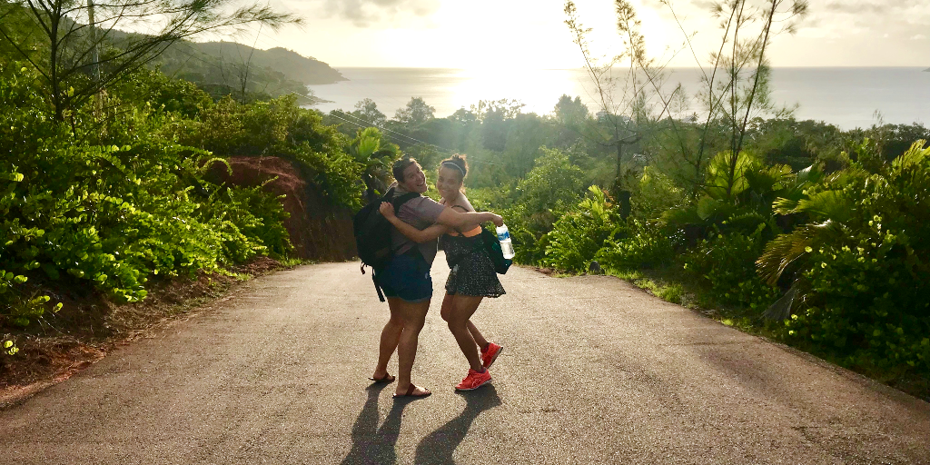 Two GVI volunteers make the most of their volunteer experience by taking a walk in the area.