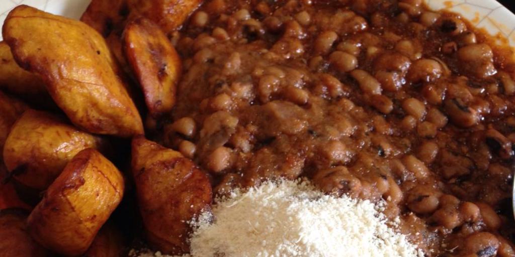 Famous Ghanaian cuisine, gari and beans.