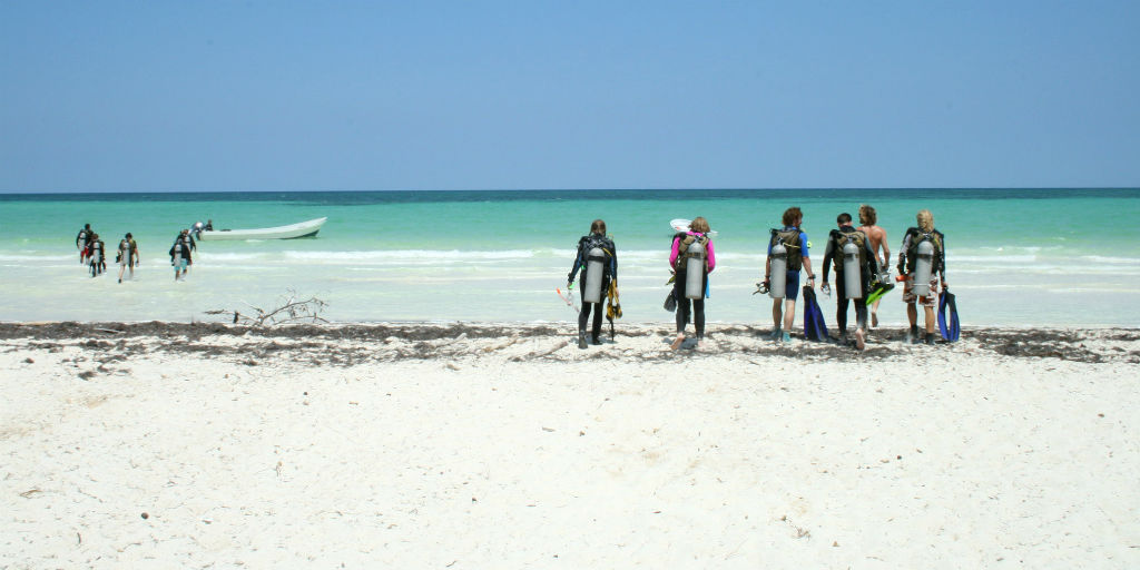 GVI volunteers get ready for a dive in the ocean.