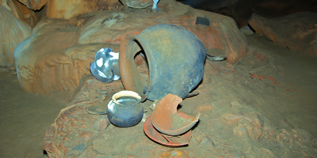 Some broken Maya pottery found in the Actun Tunichil Muknal cave in Belize.